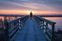 A Man On A Wooden Bridge Over ...