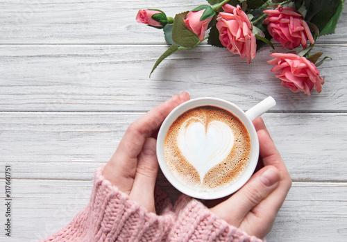 Fototapeta Woman holding cup of coffee obraz
