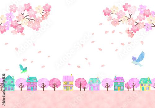 Photo 桜と春の街並み 手描き水彩風イラスト