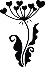 Abstract  Dandelion Plants Vector Silhouette