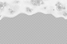 Foam Effect Isolated On Transparent Background. Soap, Gel Or Shampoo Bubbles Overlay Suds Texture. Vector White Soapy Pattern. .