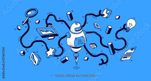 Social media automation isometric banner Canvas Print
