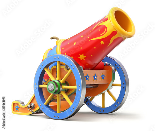 Photo Ancient circus cannon on white background - 3D illustration