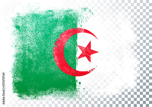 Photo Vector Illustration Distressed Grunge Flag Of Algeria