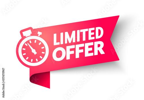 Fotomural vector illustration Red Limited Offer Banner With Clock For Promotion