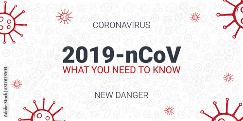 Obraz Coronavirus 2019 nCoV. What you need to know. Vector illustration with hand draw doodle background. - fototapety do salonu