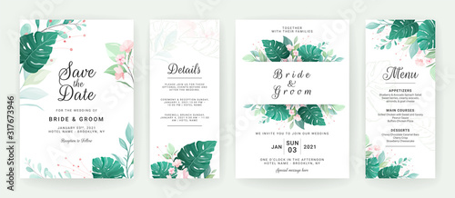 Foto Greenery wedding invitation template design of tropical leaves