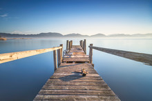 Wooden Pier Or Jetty And Lake ...