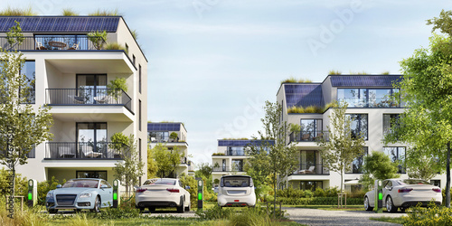 Fototapeta Modern residential buildings with solar panels.  Low-energy houses and electric car parking obraz