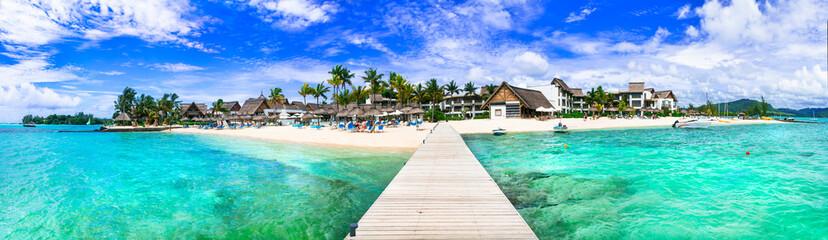 Idyllic tropical island scenery with great beach and turquoise sea. Mauritius island vacation