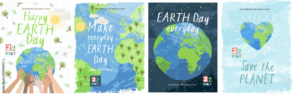 Fototapeta Happy Earth Day! Vector eco illustration for social poster, banner or card on the theme of saving the planet. Make everyday earth day