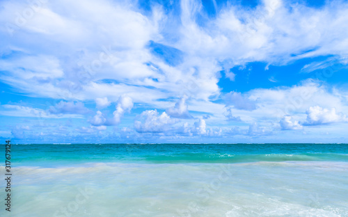 Caribbean sea under cloudy sky, natural landscape #317679124