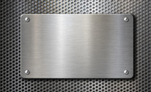 Steel Metal Plate With Rivets Over Grid Background 3d Illustration