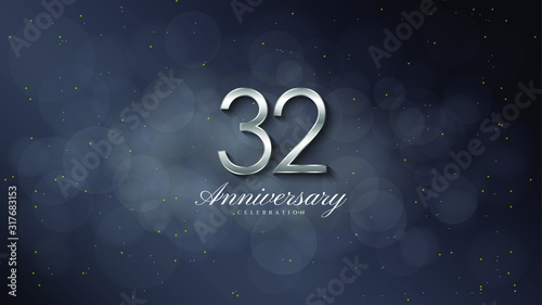 anniversary background with illustrations of 3d silver figures on a black background Canvas Print