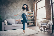 Full Length Body Size View Of Her She Nice Attractive Slim Fit Thin Cheerful Cheery Wavy-haired Girl Dancing Listening Music Having Fun Time In Modern Loft Industrial Style Interior Living-room
