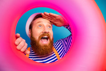 Close Up Photo Excited Funny Man Watch Pink Life Relax Saver Rescue Look Ahead Scream Wow Omg Wear White Sunhat Orange Suspenders Nautical Vest Isolated Blue Color Background