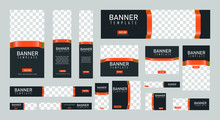 Set Of Creative Web Banners Of Standard Size With A Place For Photos. Vertical, Horizontal And Square Template. Vector Illustration