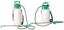 Set Of Spraying Fertilizers Isolated On White Background. Hand-pumped Sprayer. Garden Accesories