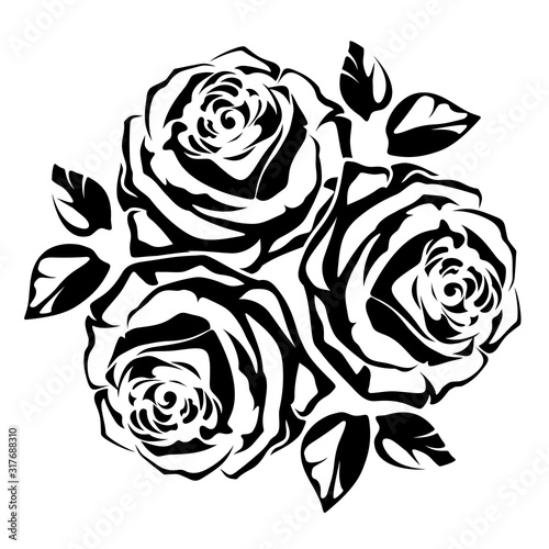 Vector black silhouette of a bouquet of three roses on a white background. #317688310