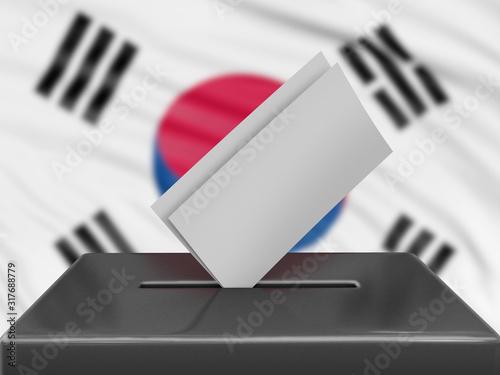 Vászonkép  Ballot box with South Korean flag on background