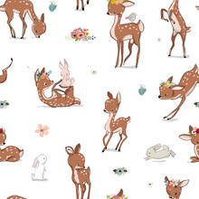 Seamless Pattern With Deer And Hare