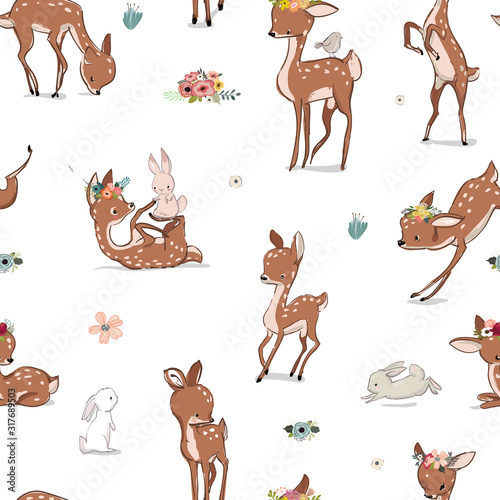 Photo seamless pattern with deer and hare