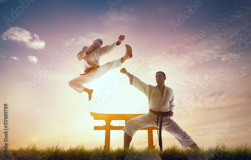 Obrazy Karate   karate-fighters-on-morning-training