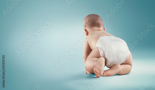 Baby. Newborn in the diaper. Isolated Fototapet