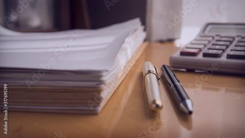 Obraz work  documents  paper pen office desk  envelope  - fototapety do salonu