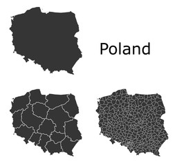 Poland map with regional division