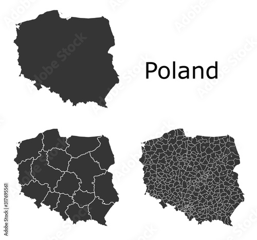 Fotografía Poland map with regional division
