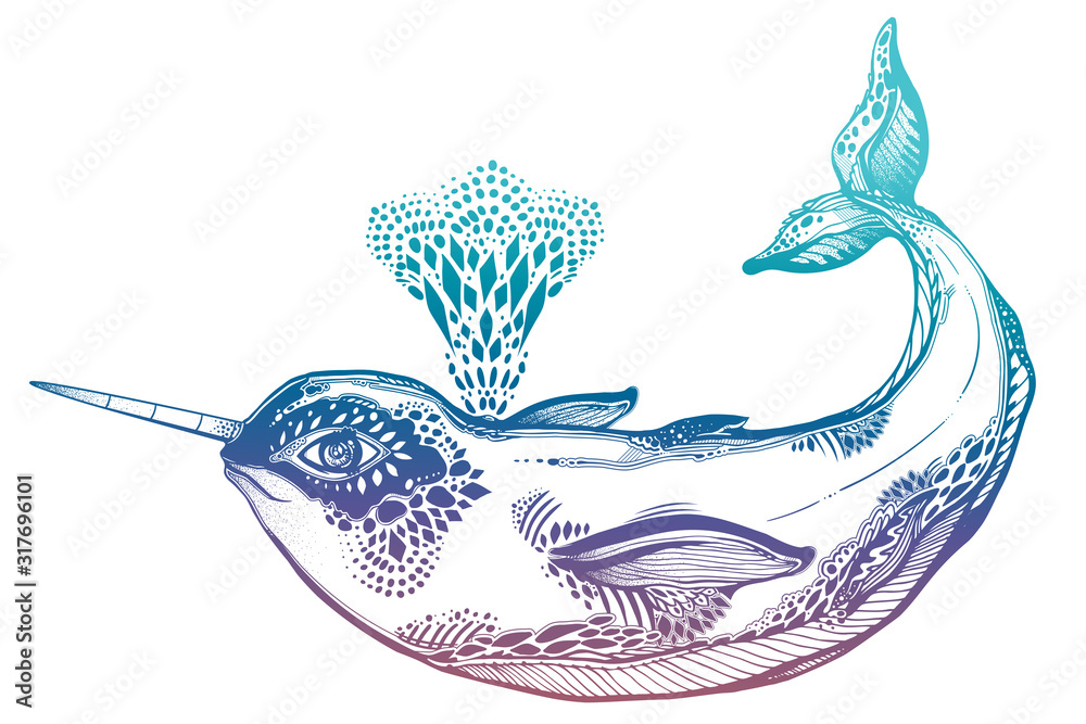 Fototapeta Highly detailed tribal wild narwhal whale sea animal in geometric style breathing our water fountain.