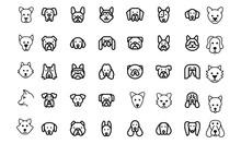 Dog Head Icon Set Vector Desig...