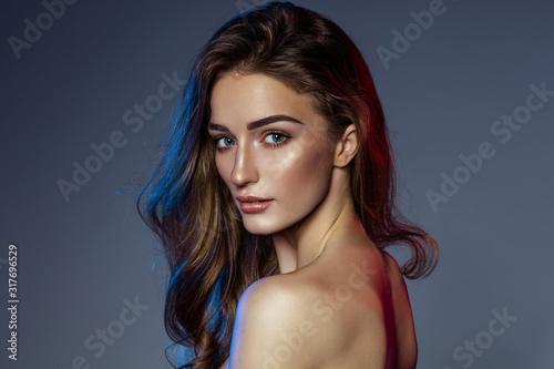 Obraz na plátně Beauty portrait of young female model with natural make up