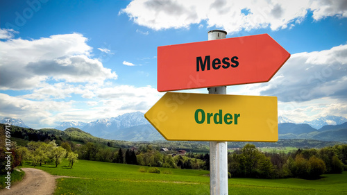 Street Sign Order versus Mess Wallpaper Mural