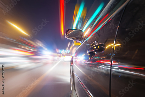 Photo car on the road with motion blur background