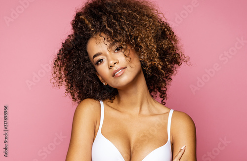 Fototapeta Beauty portrait of black woman face with natural skin