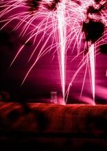 Vertical Shot Of Pink Firework...