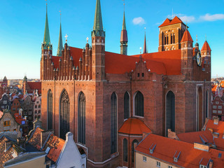 Aerial view of the St. Mary's Basilica in Gdansk at sunrise, Poland