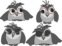 Set Of Sleepy Owls With Differ...