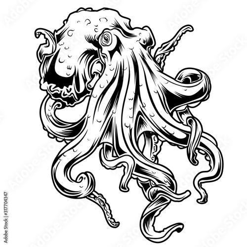 Big Octopus Drawing black & white Vector illustrtion 14 Wallpaper Mural
