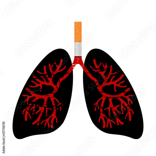 Photo Human lungs are affected by the disease from smoking