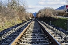 Panoramic Shot Of Train Tracks...