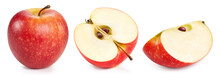 Apple With Clipping Path Isolated On A White Background. Red Apple Collection