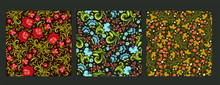 Set Of Seamless Patterns In Russian Style. Vector Graphics.