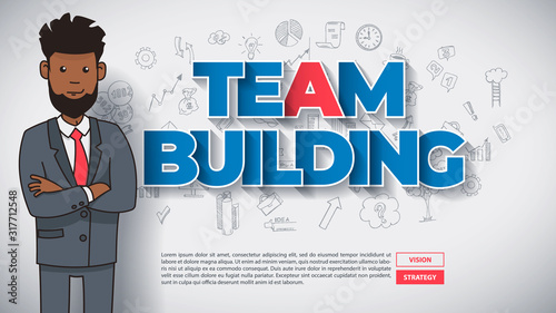 Team Building Concept with Funny Afro American Cartoon Guy with Text Teambuilding on Hand Drawn Business Background. Perfect for Web Design, Banner, Mobile App, Landing Page. Vector Flat Design. #317712548