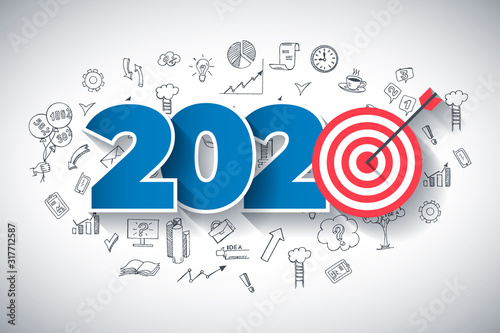 Year 2020 - Business Concept with Target. Hand Drawn in Red and Blue Colors Creative Text, on Hand Drawn Business Icons Background. Modern Vector Illustration or Design Template. #317712587