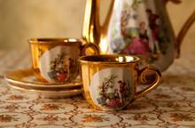 Old Soviet Gilded Porcelain Te...
