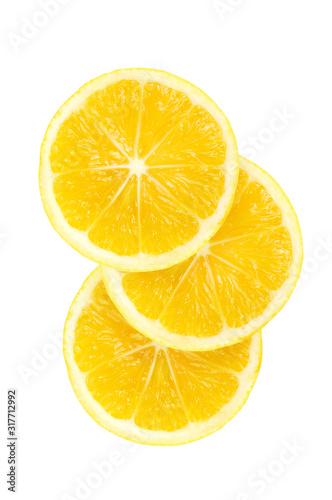three yellow fresh lemon fruit slice isolated on the white background Fototapeta