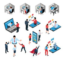 Call Center Isometric Set
